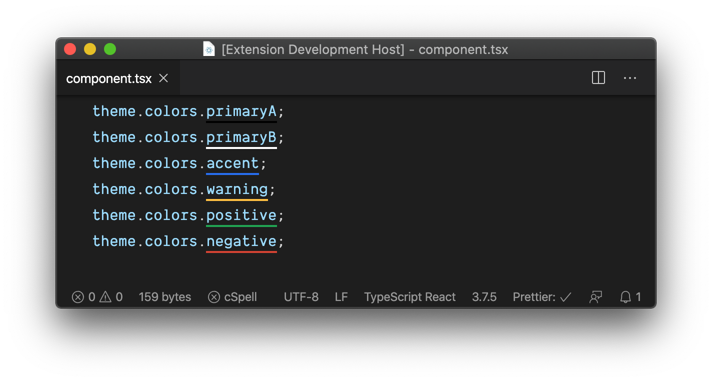 showing the colored underlines for Base Web color variables