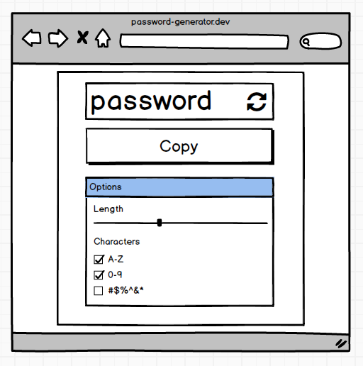 A mockup for our password generator component